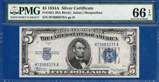 1934a $5 Silver Certificate Blue Seal Ha Block Pmg Gem Uncirculated Cu 66epq C2c photo