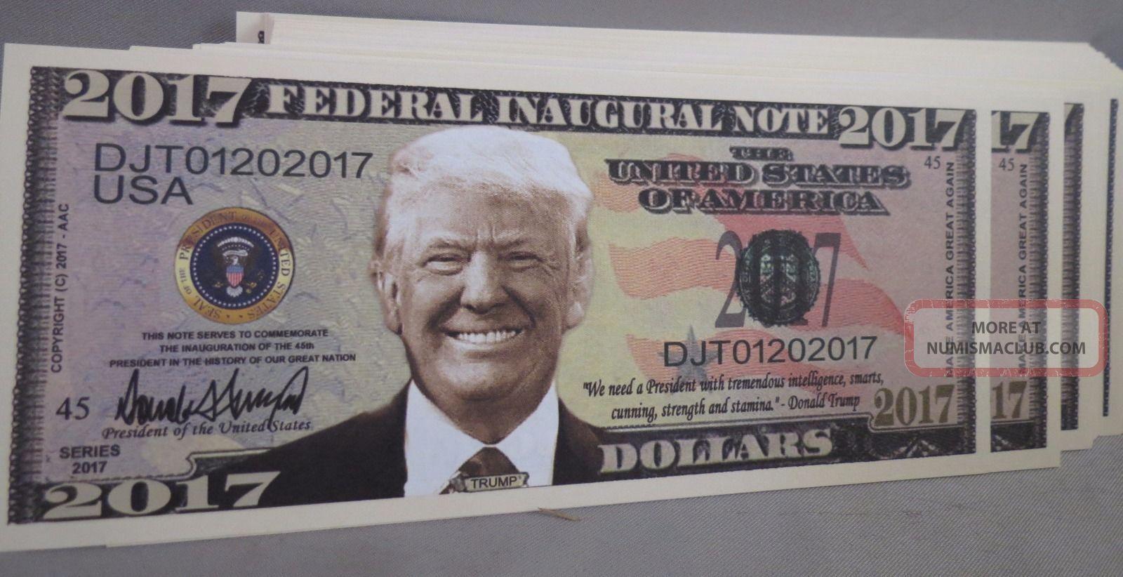 Of 100 Donald Trump President 2017 Inaugural Money Inauguration Us Paper Money: US photo