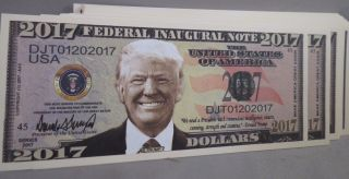 Of 100 Donald Trump President 2017 Inaugural Money Inauguration Us photo