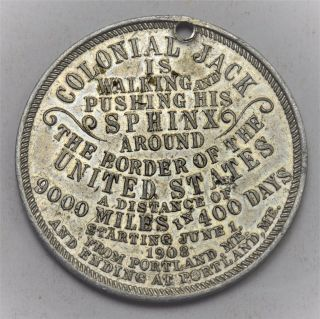 1908 Portland Maine - Colonial Jack Is Walking Around The Border Of The Usa Token photo