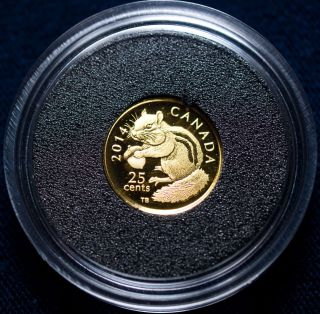 Royal Canadian 2014 25 Chipmunk Gold Proof (box, ) photo