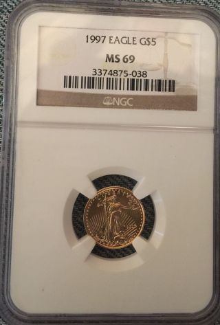 1997 Gold American Eagle 1/10th Oz Ngc Ms - 69 (one Tenth Ounce Gold) $5 Dollars photo