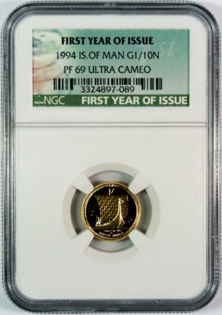 1994 Isle Of Man Proof 1/10 Oz.  Gold Noble Ngc Pf69 Ultra Cameo photo