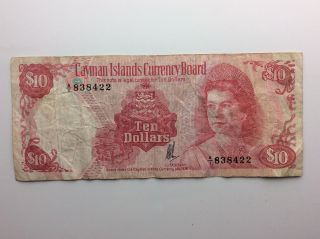 1974 Caymen Islands Currency Board Ten 10 Dollars Currency Money Banknote A910 photo