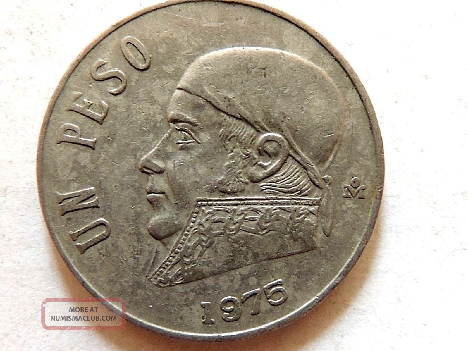1975 Mexican Un 1 Peso Coin