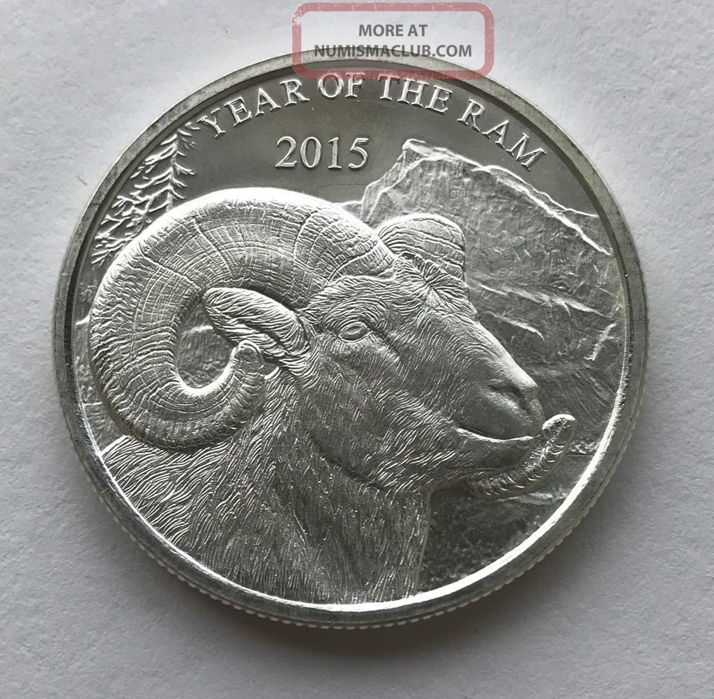 2015 Year Of The Ram 1 Oz.  999 Silver Round Silver photo