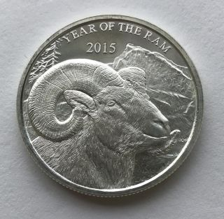 2015 Year Of The Ram 1 Oz.  999 Silver Round photo