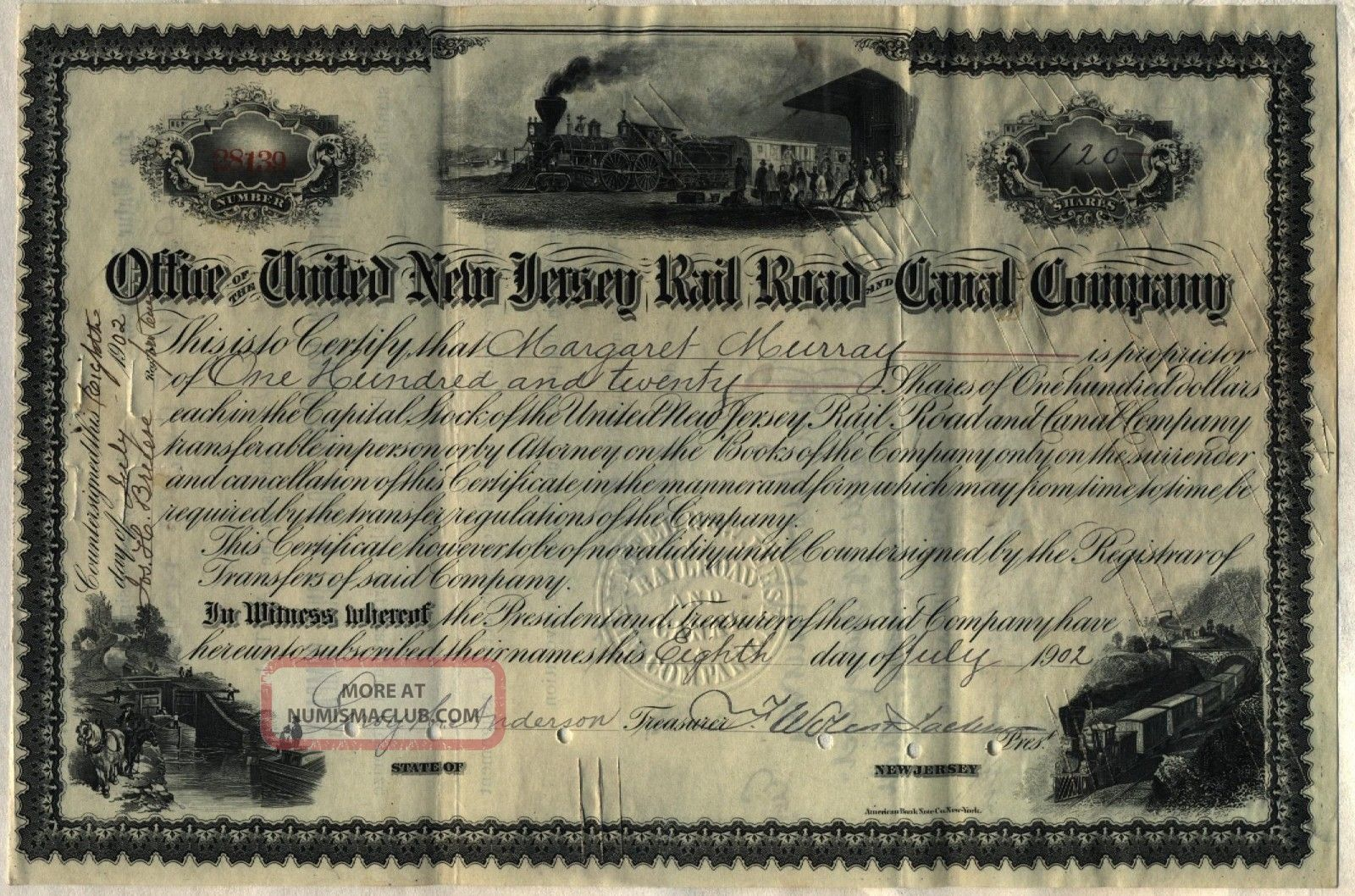 United Jersey Railroad & Canal Company Stock Certificate Transportation photo