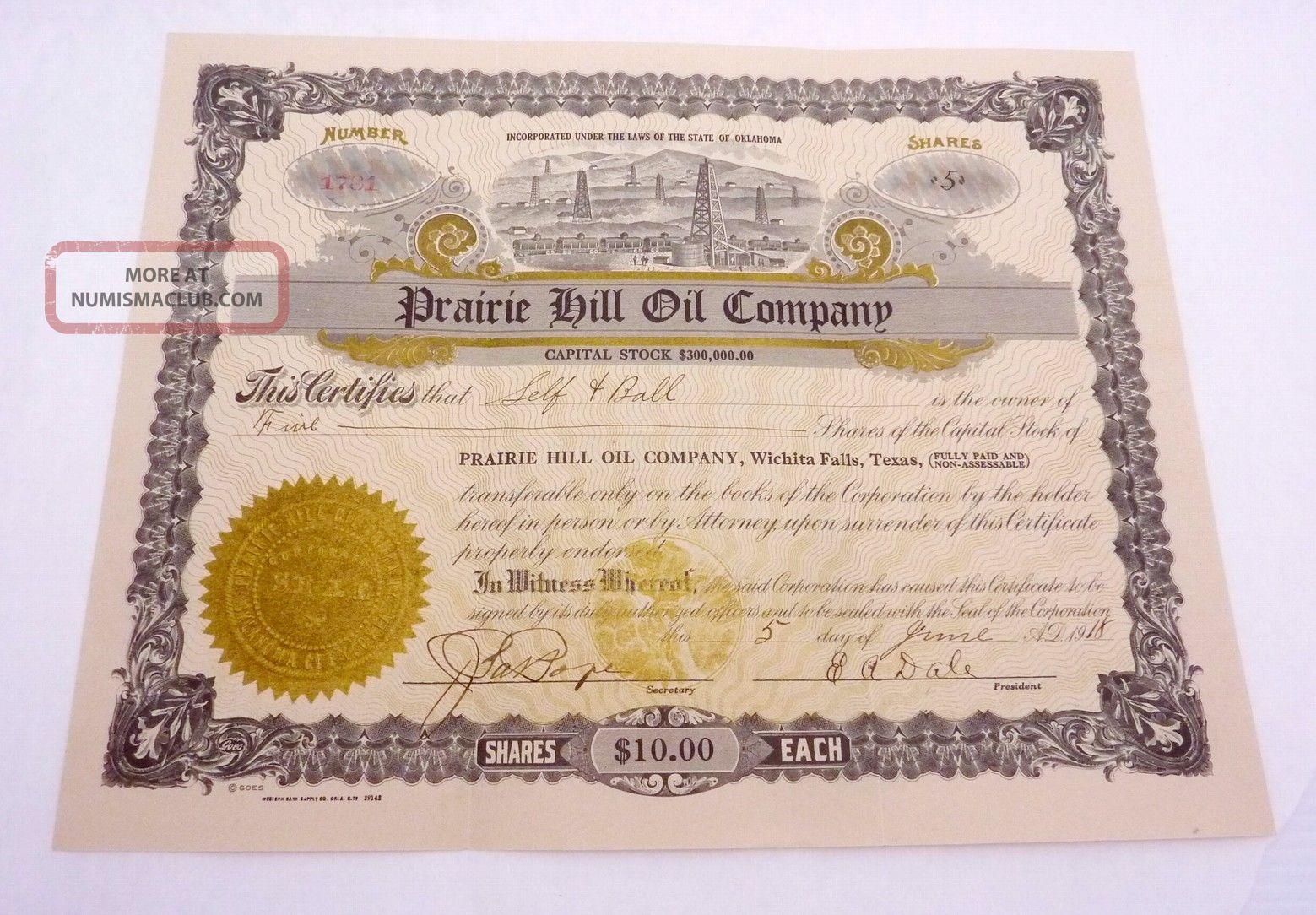 Antique 1918 Stock Certificate Prairie Hill Oil Co Wichita Falls Texas Ok 22997 Stocks & Bonds, Scripophily photo