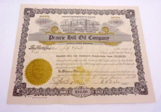 Antique 1918 Stock Certificate Prairie Hill Oil Co Wichita Falls Texas Ok 22997 photo