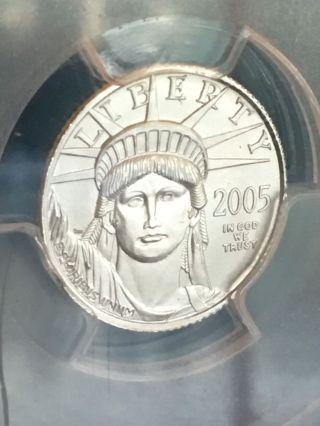 2005 1/10 Oz $10 Platinum American Eagle Coin Pcgs Ms 69 photo