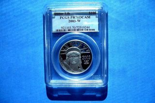 2003 - W $100 Platinum Pcgs Pr70dcam Statue Of Lberty Great Coin photo