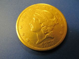 1875 Gold Twenty Dollar Double Eagle Coin - Well Preserved - Circulated Coin photo