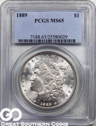1889 Pcgs Morgan Silver Dollar Pcgs Ms 65 Lustrous Tougher Date,  S/h photo