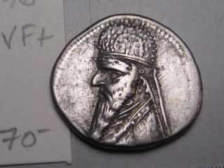 Parthia Empire: Mithradates Ii,  123 - 88 Bc.  Silver Drachm.  Sellwood - 28.  6 photo