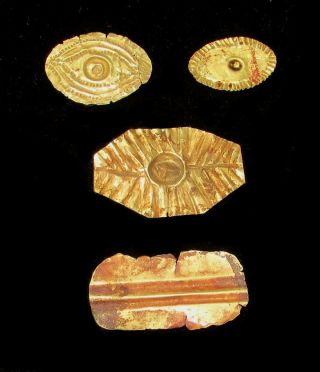 1077 - 973 Bc Ancient Egypt Gold Foil From Mummy Burials Eye & Mouth Covers photo