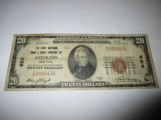 $20 1929 Yonkers York Ny National Currency Bank Note Bill Ch.  653 Rare photo