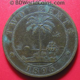 1896 Liberia 2 Cents Palm Tree Ship Sun Low Rare African Coin Bronze 29mm photo