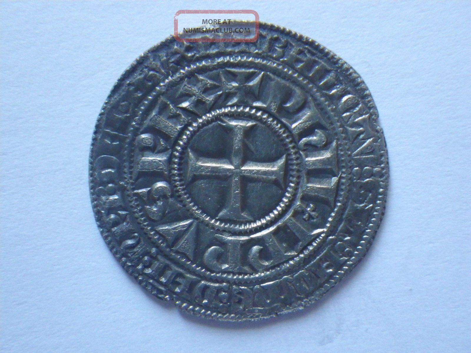 France Silver Gros Tournois Philip Iv The Fair 1290 - 1295 Ad 3.  82 Grams Long 0 Europe photo