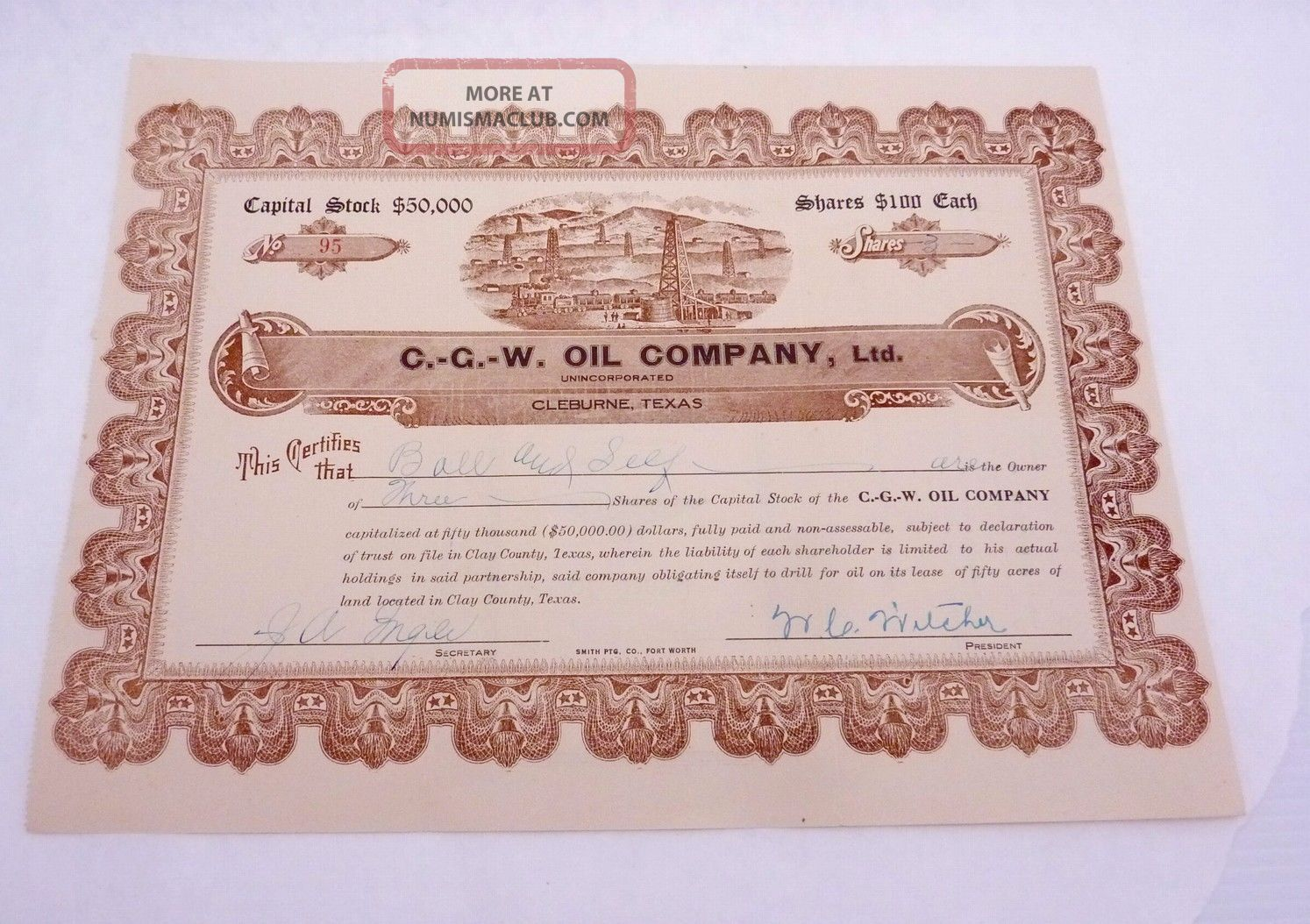 Antique 1918 Stock Certificate Cgw Oil Co Cleburne Texas Oil Well Railroad 22996 Stocks & Bonds, Scripophily photo