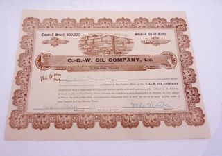 Antique 1918 Stock Certificate Cgw Oil Co Cleburne Texas Oil Well Railroad 22996 photo