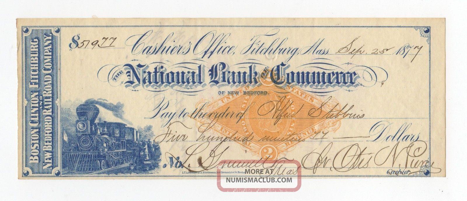 Boston,  Clinton,  Fitchburg And Bedford Railroad Check Transportation photo