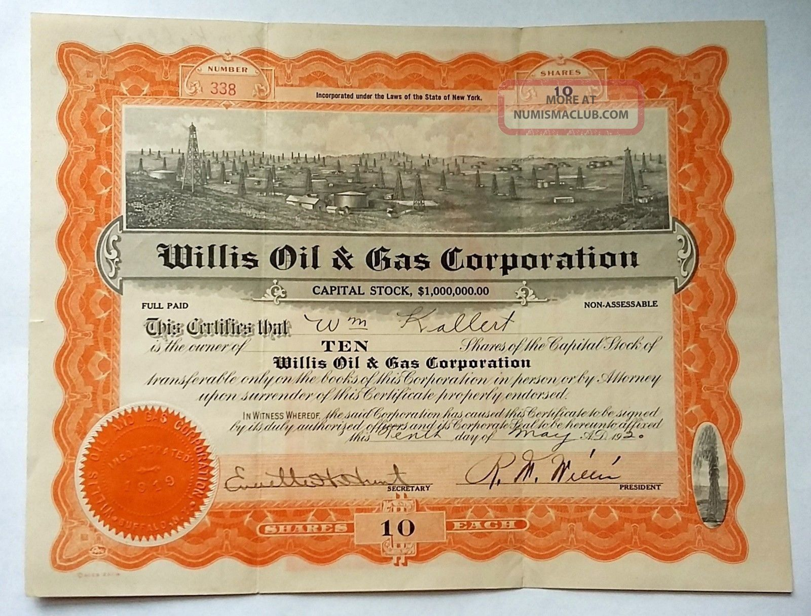 1920 Stock Certificate,  Willis Oil & Gas Corporation,  Oil Wells Graphic Stocks & Bonds, Scripophily photo