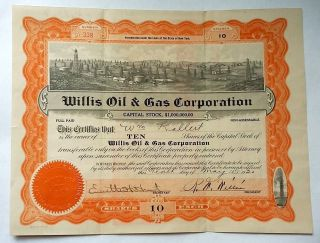 1920 Stock Certificate,  Willis Oil & Gas Corporation,  Oil Wells Graphic photo