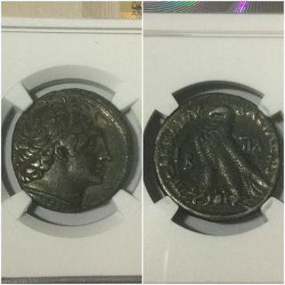Cleopatra Iii Ptolemy Ix Ar Tetradrachm Ngc Ch Vf Joint Reign,  C.  116 - 107bc photo
