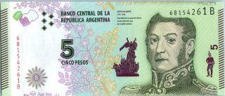 Argentina 5 Pesos J.  San Martin - Bolivar,  Mendoza,  Artigas - Serial B 2016 photo