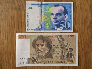 50 & 100 Fr France - St Exupéry - Delacroix Unc photo
