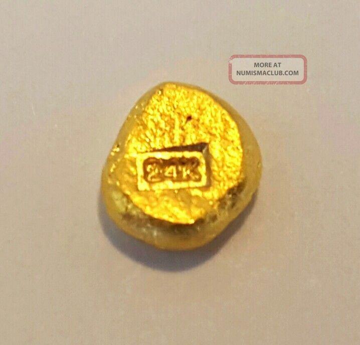 1 Gram 999 Fine 24k Gold Round Hand Poured Hand