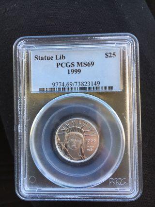 1999 - 1/4oz $25 Platinum American Eagle Ms69 Pcgs Blue Label photo