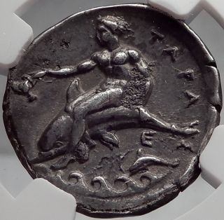 Tarentum Taras In Calabria 344bc Horseman Boy On Dolphin Silver Greek Coin Ngc photo