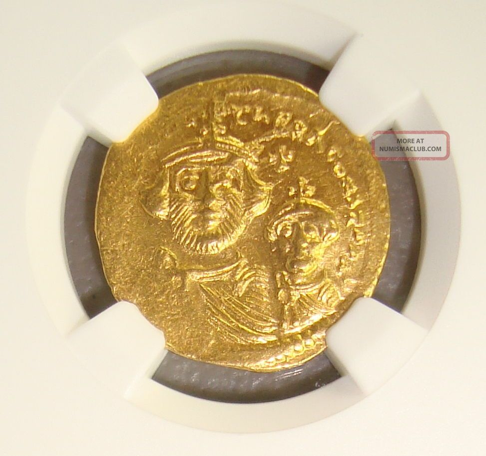 Ad 613 - 641 Heraclius & Her.  Constantine Ancient Byzantine Gold Solidus Ngc Coins: Ancient photo