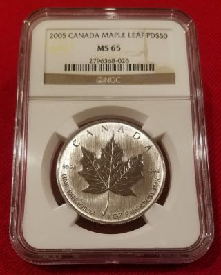 2005 Canada Palladium Maple Leaf Pd$50 Ms 65 Ngc.  Becoming Rarer Than Platinum photo