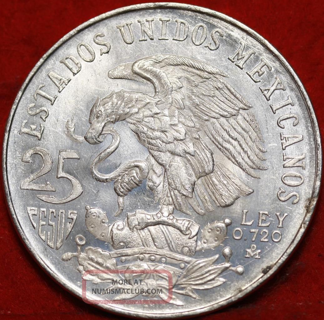 Uncirculated 1968 Mexico 25 Pesos Silver Foreign Coin S H