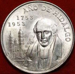 Uncirculated 1953 Mexico 5 Pesos Silver Foreign Coin S/h photo