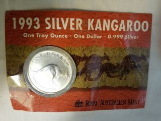 1993 Royal Australian Kangaroo 1 Oz Silver Dollar Orig Card Australia photo