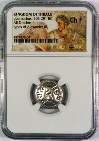 Greek Kingdom Of Thrace Lysimachus Ar Drachm Bc 305 - 281 Ngc Ch Fine photo
