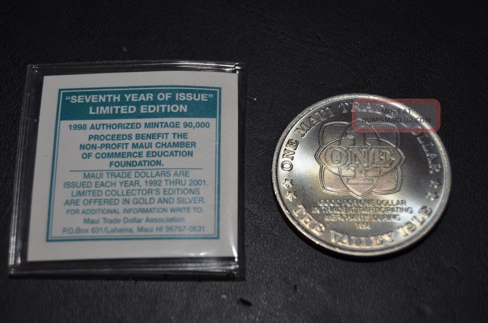 1998 Maui Trade Dollar With Certificate Of Authenticity Exonumia photo