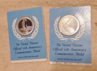 1970 United Nations 25th Anniversary Comm Sterling Silver Medal -.  5 Oz photo