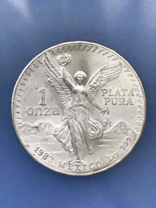 1983 Mexico Libertad 1 Oz Onza.  999 Silver Plata Pura Round Mexican Bu Coin photo