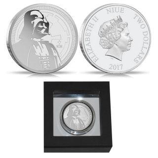 2017 1 Oz Niue Silver Coin $2 Star Wars Darth Vader Bu photo