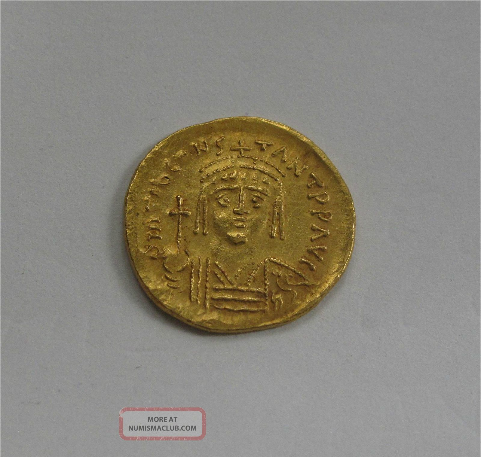Byzantine Gold Coin Solidus Tiberius Ii Xf,  576 - 582 Ad Coins: Ancient photo