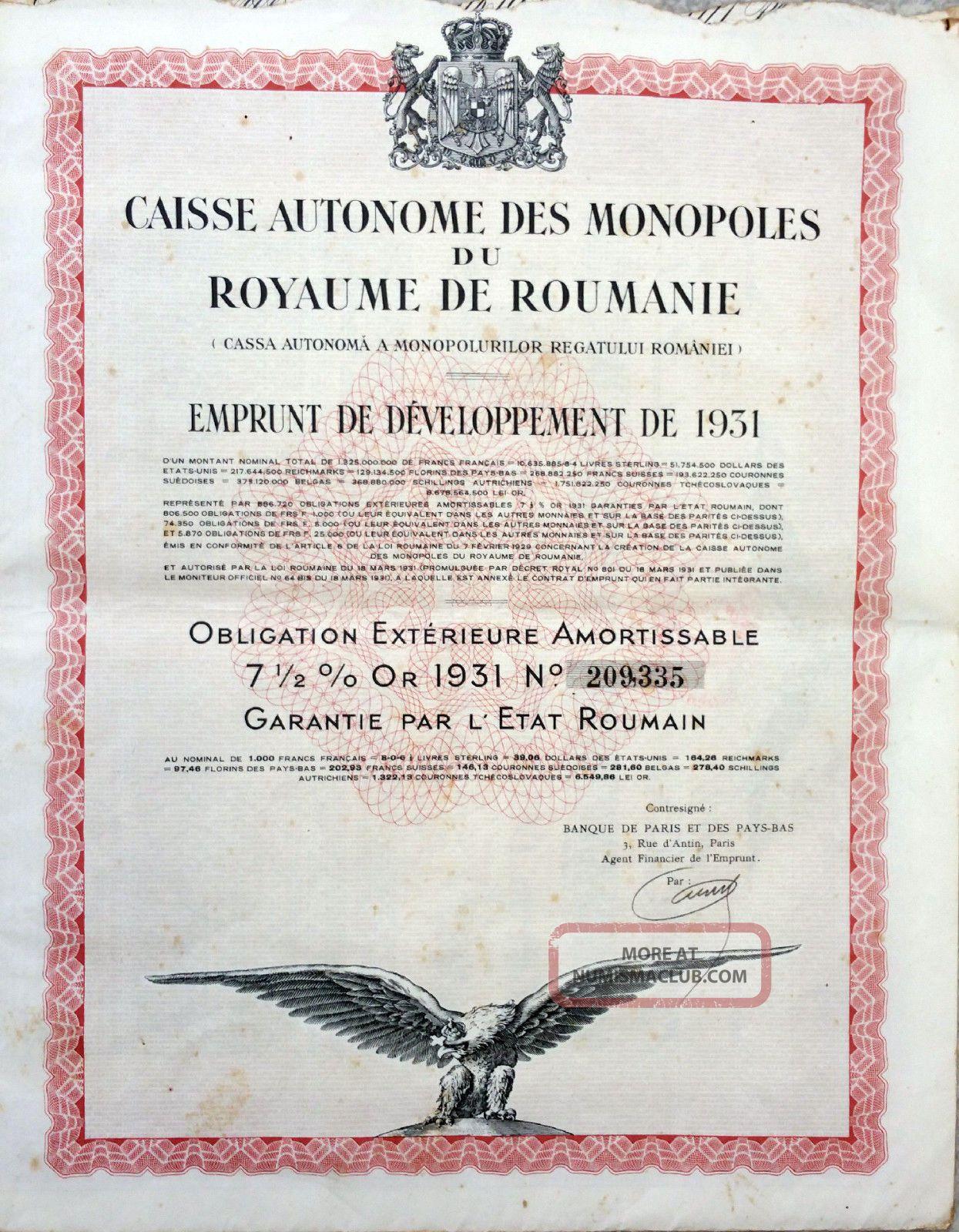 Romania 1931 - Caisse Autonome Des Monopoles Du Royaume De Roumanie - Bond 7 Or Stocks & Bonds, Scripophily photo