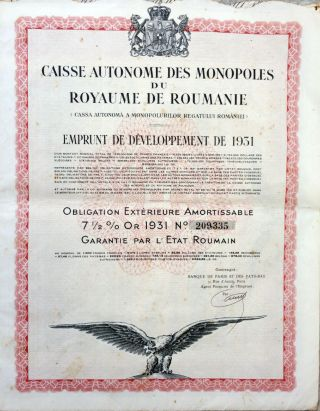 Romania 1931 - Caisse Autonome Des Monopoles Du Royaume De Roumanie - Bond 7 Or photo