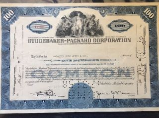 Studebaker - Packard Stock Certificate.  Historic photo