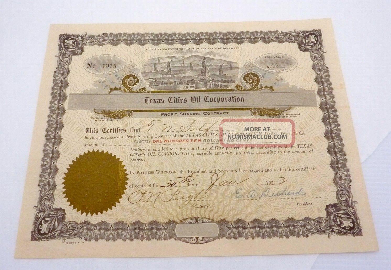 Antique 1923 Profit Sharing Contract Texas Cities Oil Corp Dallas Texas 23005 Stocks & Bonds, Scripophily photo