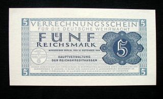 1944 Germany Military Banknote Wehrmacht 5 Reichmark Unc photo